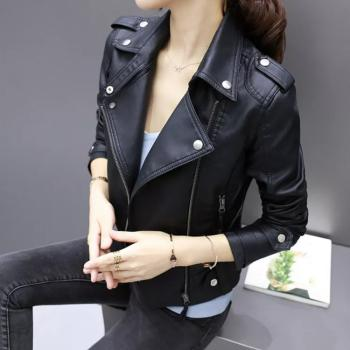 New Girl's Black Wide Color Motorcycle Soft Genuine Lambskin Leather Slim Fit Jacket