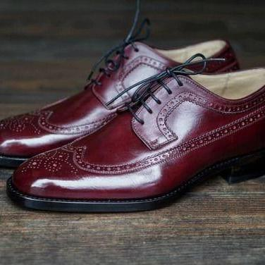 Handmade Burgundy Wing Tip Brogue Leather Lace Up Shoes,Men Shoes ,Formal Shoes