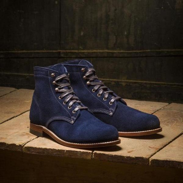 Handmade Blue Ankle High Suede Lace Up Boot,Dress Formal Boot For Men's