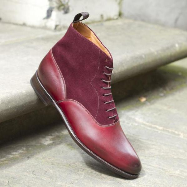 HANDMADE BOOT FOR MEN, MAROON COLOR BOOT, MENS LEATHER BOOT, ANKLE BOOT
