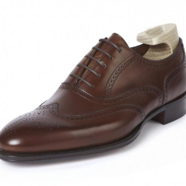 HANDMADE FULL ENGLISH OXFORD BROGUE STYLE SHOES,BOOT