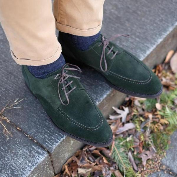 Handmade Green Round Toe Lace Up Suede Shoes For Men Wear Dress Shoes