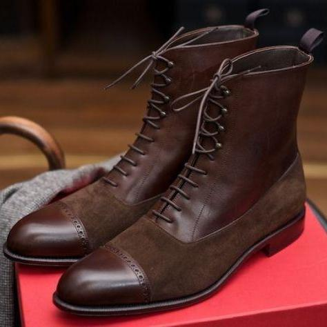 Handmade Brown Cap Toe Ankle Lace Up Leather Suede Boot,Men's Dress Boot