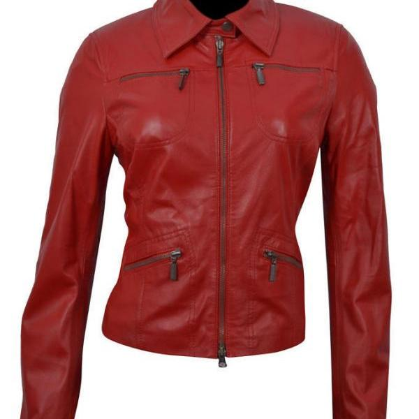 Red Genuine Leather Women,s Biker Jacket, Red leather jacket