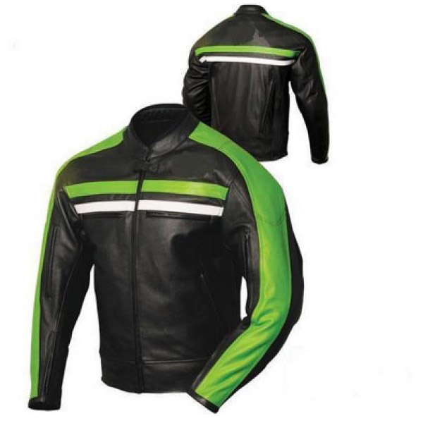 Biker leather jacket black green Striped , Mens Leather jacket
