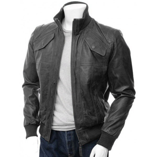 Men's Black Bomber Leather Made Jacket Fashion, Mens Leather jacket