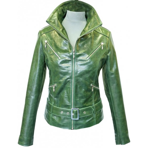 Women's Leather Jacket Belted Green Retro Short JACKET