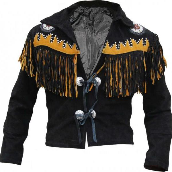 Western Black Rider Leather Jacket, Fringe Bones mens