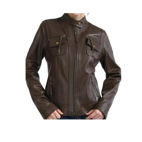 BROWN FRONT FLAP FASHION JACKET FOR WOMENS - NEW SPECIAL