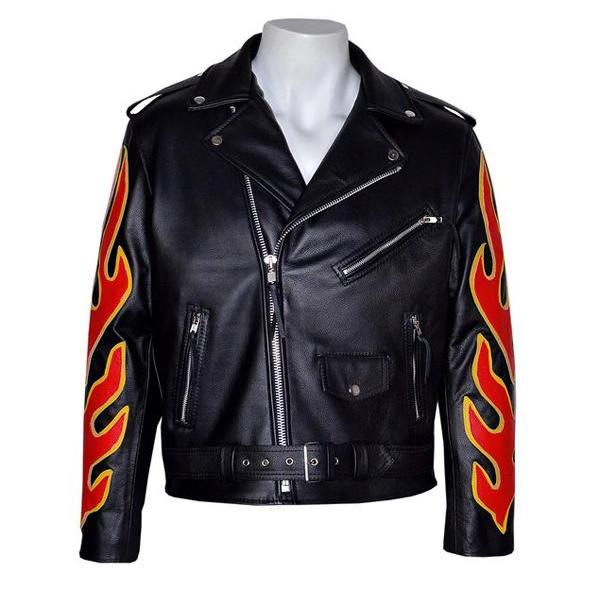 Men's Black Red Flame Men's Motorcycle Biker Leather Jacket, Men Leather Jacket
