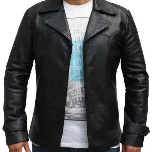 Black Three Button Stylish Leather Jacket/Coat Slim Fit , Mens Leather jacket