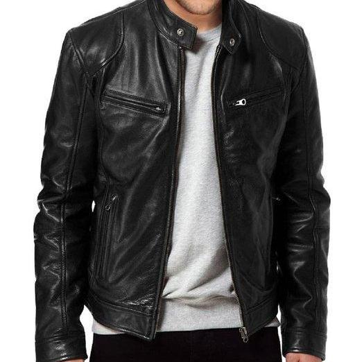 Men's SWORD Black Genuine Lambskin Leather Biker Jacket, Mens Leather jacket