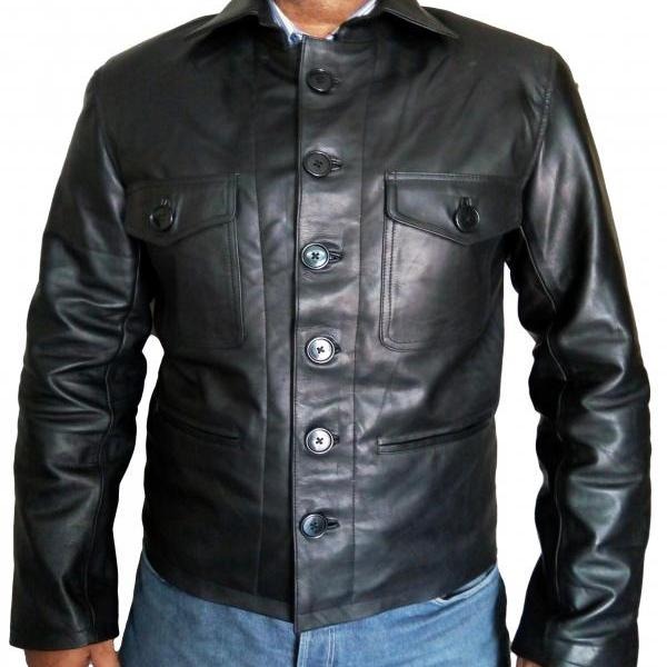 Slim Fit Black Flap Pocket Leather Jacket Button Closer Men