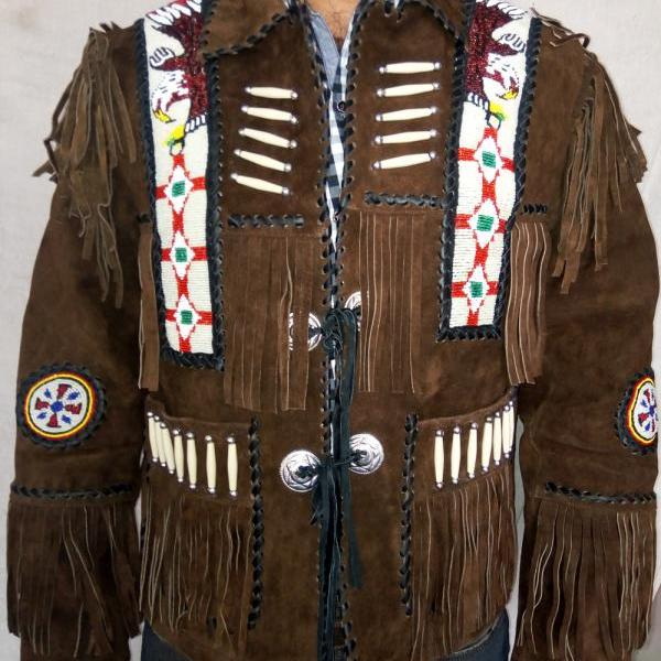 western wear Native Dark Brown Fringes Western Fashion Suede Jacket