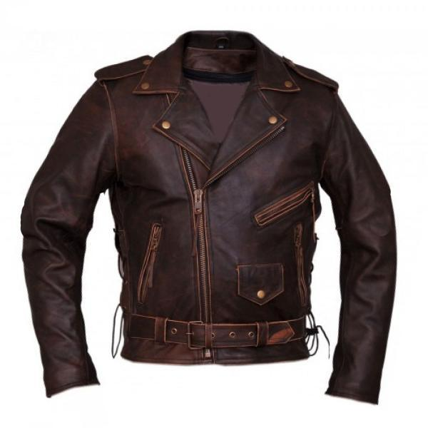 Antique Brown Biker Leather Jacket For Men Brando style