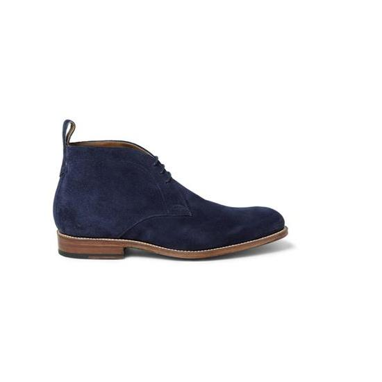 Handmade Leather Chukka Navy Blue Shoes Leather Sole For Men