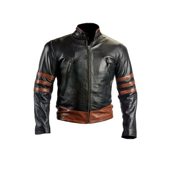 X-MEN Wolverine Black Biker Style Brown Leather Jacket For Men