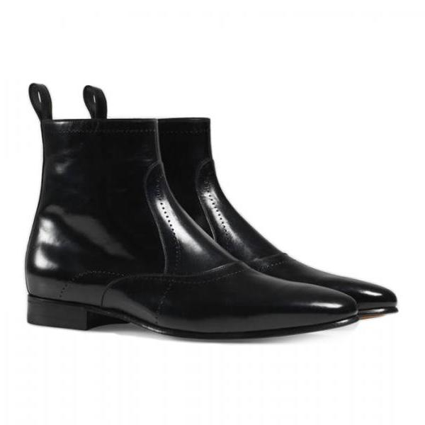 Handmade Ankle High Side Zipper Light Leather Boot Men Black Shoes