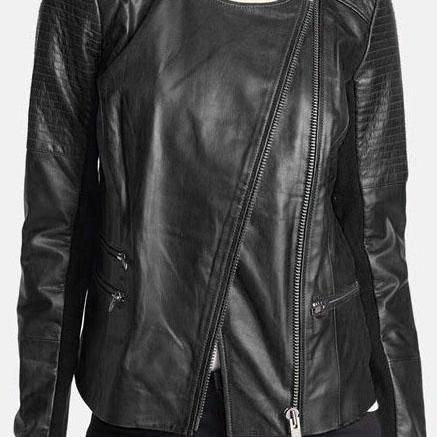 New Women Black Leather Jacket, Black Leather Jacket women