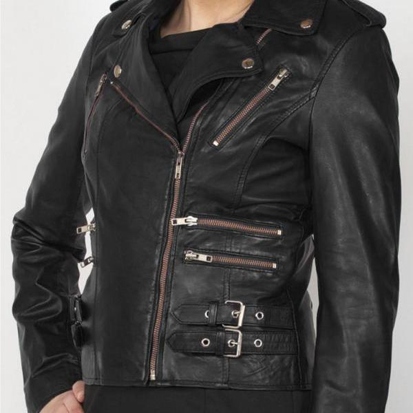 New Women Black Zipped Leather Jacket, Women Black Leather Fashion jacket