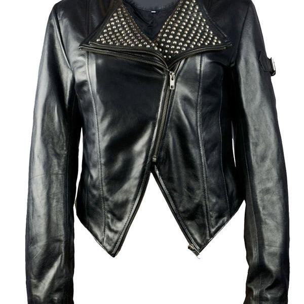 New Handmade Black Color Women Studded Leather Jacket, Women Studded jacket