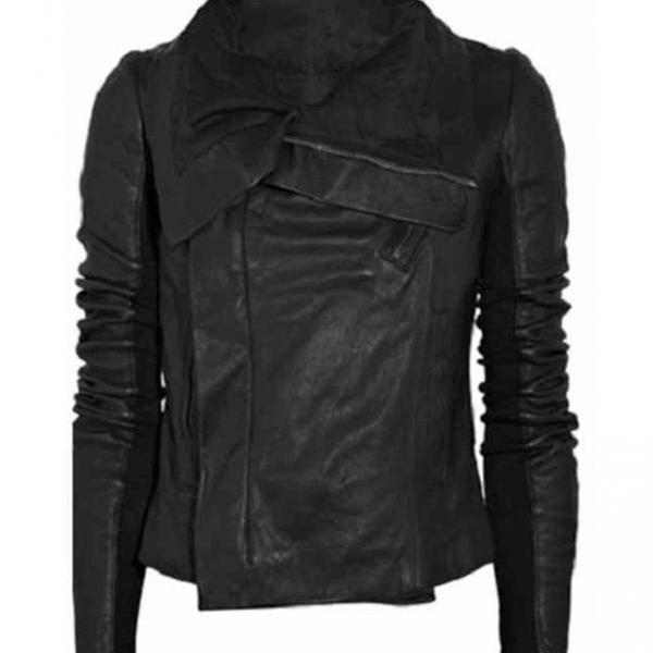 New Women Black High Neck Wide Free Collar Leather Jacket Women's