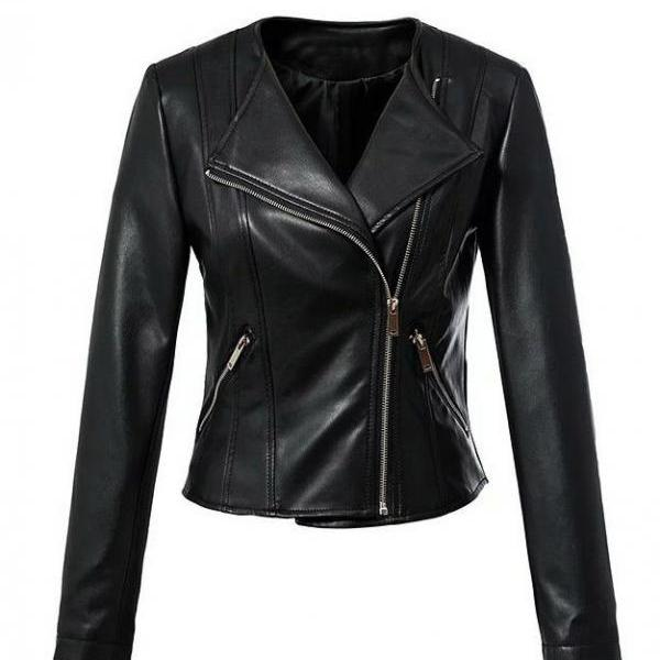 New Round Neck Slim Fit Fashion Biker Jacket For Women's