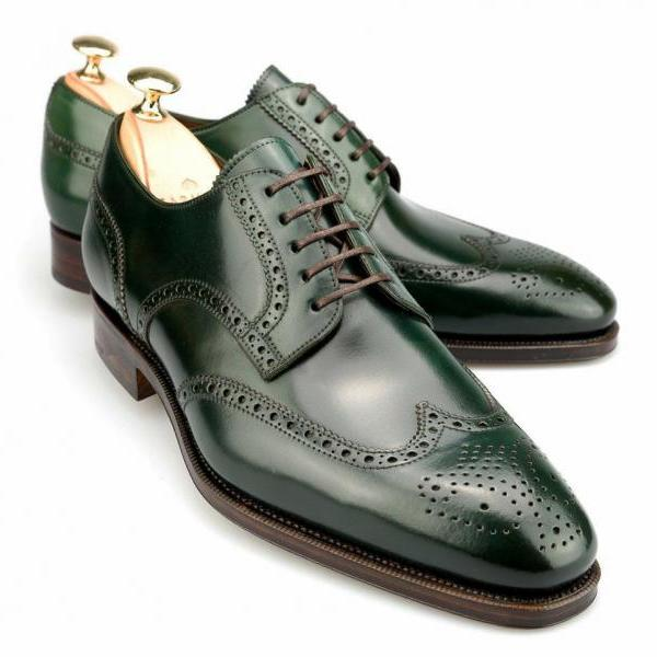 New Handmade Derby Green Leather Shoes Office Wedding Shoes Party Men's