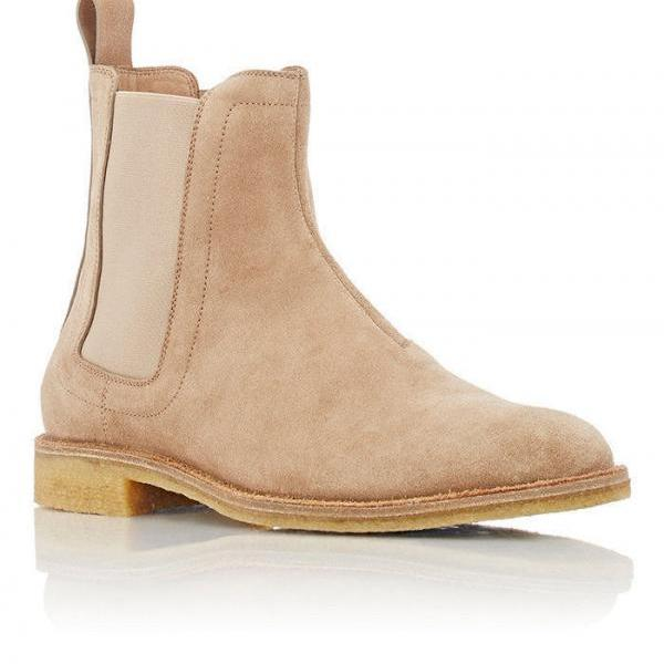 Handmade Mens Beige Chelsea Suede Leather Boots, suede boots crepe sole