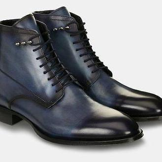 Handmade Mens leather boot, Mens Navy blue leather boot, Ankle leather boot men